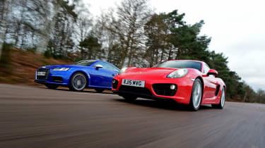 Used Porsche Cayman vs New Audi TTS - low shot