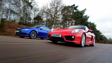 Used Porsche Cayman vs New Audi TTS - low shot