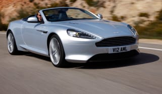 Aston Martin Virage Volante convertible front tracking