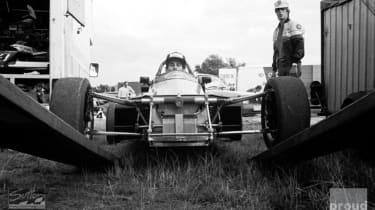 Ayrton Senna guides his Van Diemen RF82 from the transporter - Formula Ford 2000 Championship