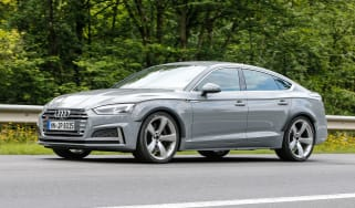 Audi RS5 Sportback spy shot front quarter