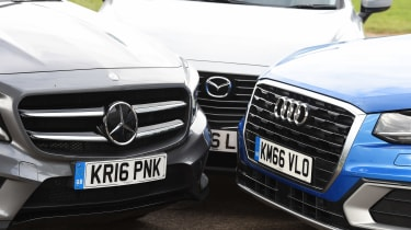 Audi Q2 vs Mazda CX-3 vs Mercedes GLA - fronts