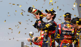 Mark Webber celebrates