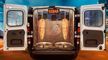 """<p class=""""p1"""">Vauxhall announced a breakthrough for the evening entertainment industry for April Fools' 2015. The Taxi Kebabi is a 9-seater Vauxhall Vivaro Combi taxi with built-in kebab shop.&nbsp;</p>"""