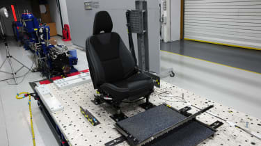 Whiplash testing is carried out on Hyper G sled. There are only two in the world and they cost £1million each.