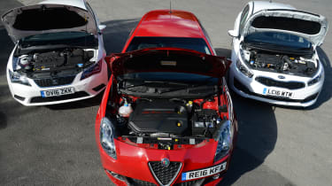 Alfa Romeo Giulietta vs SEAT Leon vs Kia Cee'd - engines