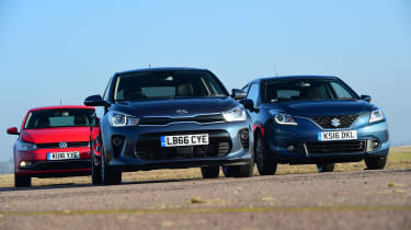 Kia Rio vs Volkswagen Polo vs Suzuki Baleno - head-to-head