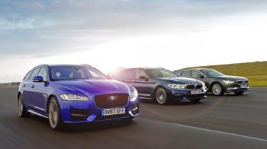 Jaguar XF Sportbrake vs BMW 5 Series Touring vs Volvo V90 - front