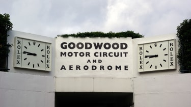 This is the sign above the tunnel that leads into the centre of the circuit at Goodwood - the gateway to the main part of the Revival.