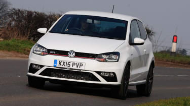 The VW Polo GTI competes with the MINI Cooper S and Peugeot 208 GTi.