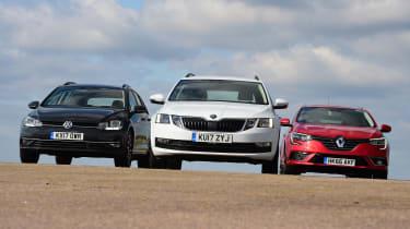 Skoda Octavia Estate vs VW Golf Estate vs Renault Megane Sport Tourer - head-to-head front