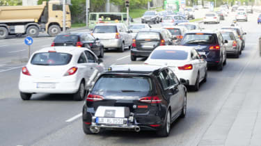 traffic jam and emissions testing