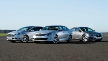 Kia Optima vs Ford Mondeo vs Vauxhall Insignia - header