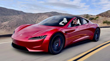 2019 Tesla Roadster tracking on road