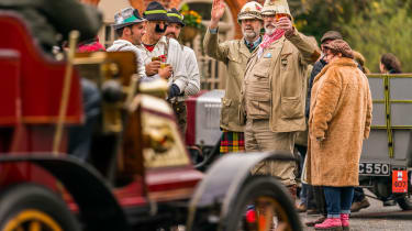 London to Brighton Veteran Car Run  -  halfway wave