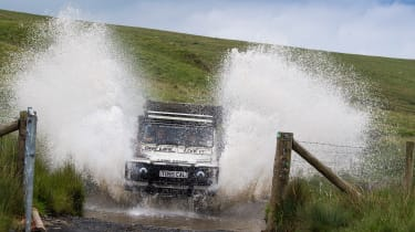 Green Laning  - Land Rover Defender through water