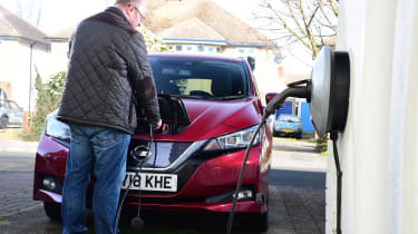 Nissan Leaf - Long termer plugging in