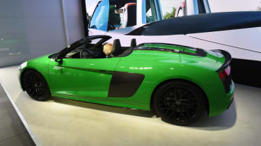 The Audi R8 Spyder V10 Plus is the convertible version of the standard car, boasting 602bhp and a 204mph top speed.