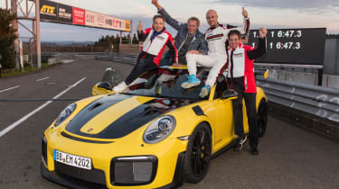 Porsche 911 GT2 RS Nurburgring record - celebrating