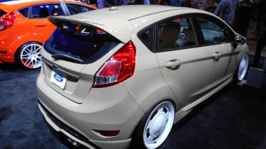 It wasn't just Mustangs attracting the crowds on the Ford stand, the Blue Oval's dinky Fiesta ST took its fair share of the limelight too. This beige-coloured example tuned by All Star was joined by a more lurid-coloured version by Bok