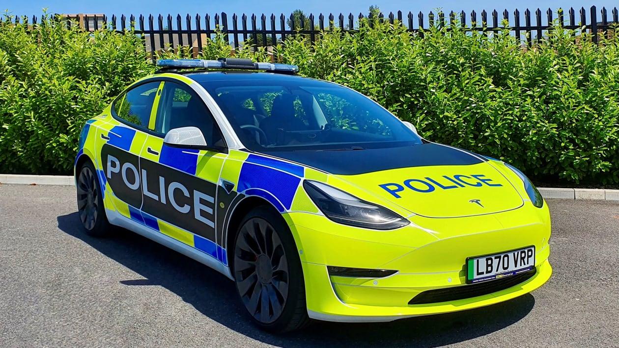 Tesla Model 3 police car front