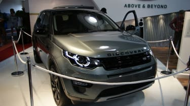 The new Land Rover Discovery Sport on display in the (fake) Earl's Court Motor Show.