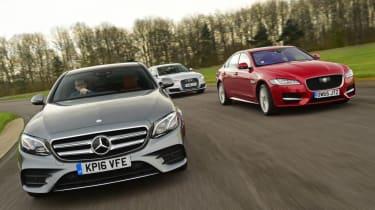 Mercedes E-Class vs Jaguar XF vs Audi A6