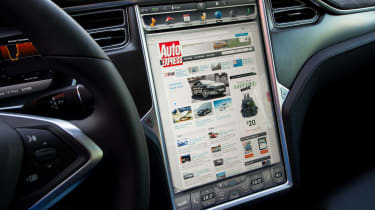 """<p class=""""p1"""">All Teslas feature 3G connectivity. Not only does that allow you to access the Internet on huge screen, but Tesla can send software updates to your car remotely.</p>"""