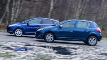 Used Ford Fiesta vs New Dacia Sandero - side