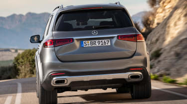 Mercedes GLS - grey rear action
