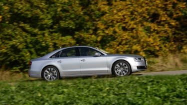 Audi A8 saloon 2014 side action