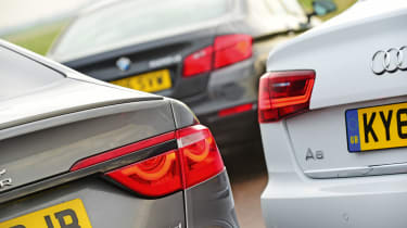 Jaguar XF vs Audi A6 vs BMW 5 Series - group test rear