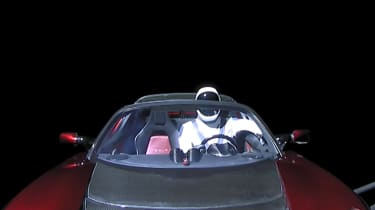 Tesla Roadster in space - front