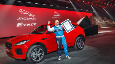 Jaguar E-Pace barrel roll world record stunt