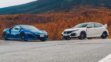 Honda Civic Type R and blue NSX