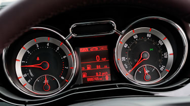 The chrome ringed dials and leather steering wheel are all part of Vauxhall's efforts to improve the Adam's cabin atmosphere.