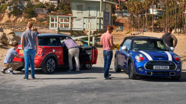 MINI blue and red parked