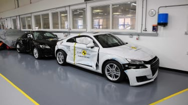 The Audi TT test was the first time Euro NCAP had used the dummy of a small female driver and a rear passenger.