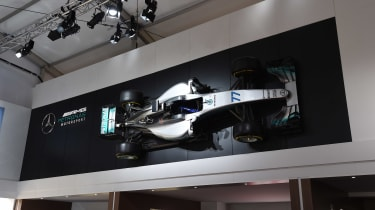 Although it's not in action at Goodwood, Mercedes' title-winning Formula 1 car was on display.