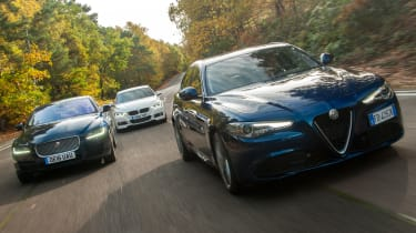 Alfa Romeo Giulia vs Jaguar XE vs BMW 3 Series - group