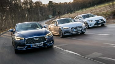 Infiniti Q60 vs Lexus RC vs Audi A5 - head-to-head