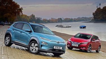 Hyundai Kona Electric vs Nissan Leaf - front