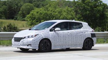 2018 Nissan Leaf spy shot front quarter