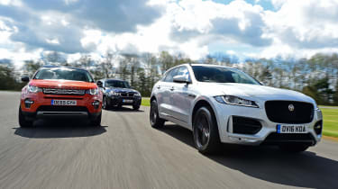 Jaguar F-Pace vs Land Rover Discovery Sport vs BMW X3 - header