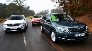 Skoda Kodiaq vs Land Rover Discovery Sport vs Kia Sorento - header