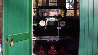 Classic car hidden in garage