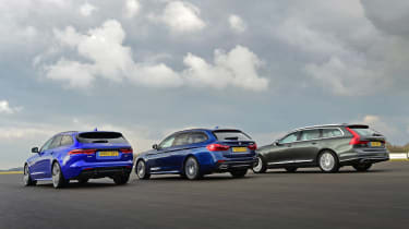 Jaguar XF Sportbrake vs BMW 5 Series Touring vs Volvo V90 - rear