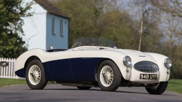 "Created to boost Austin's sporting image around the world, the Healey 100S was developed throughout 1953 and 1954 and came with many improvements to make it more competitive in racing over the standard ""Healey Hundred""."