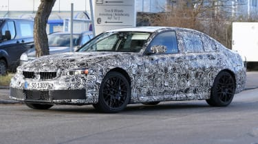 BMW M3 spy shot front quarter