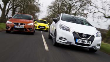 Nissan Micra N-Sport vs SEAT Ibiza FR Sport vs Suzuki Swift Sport - header